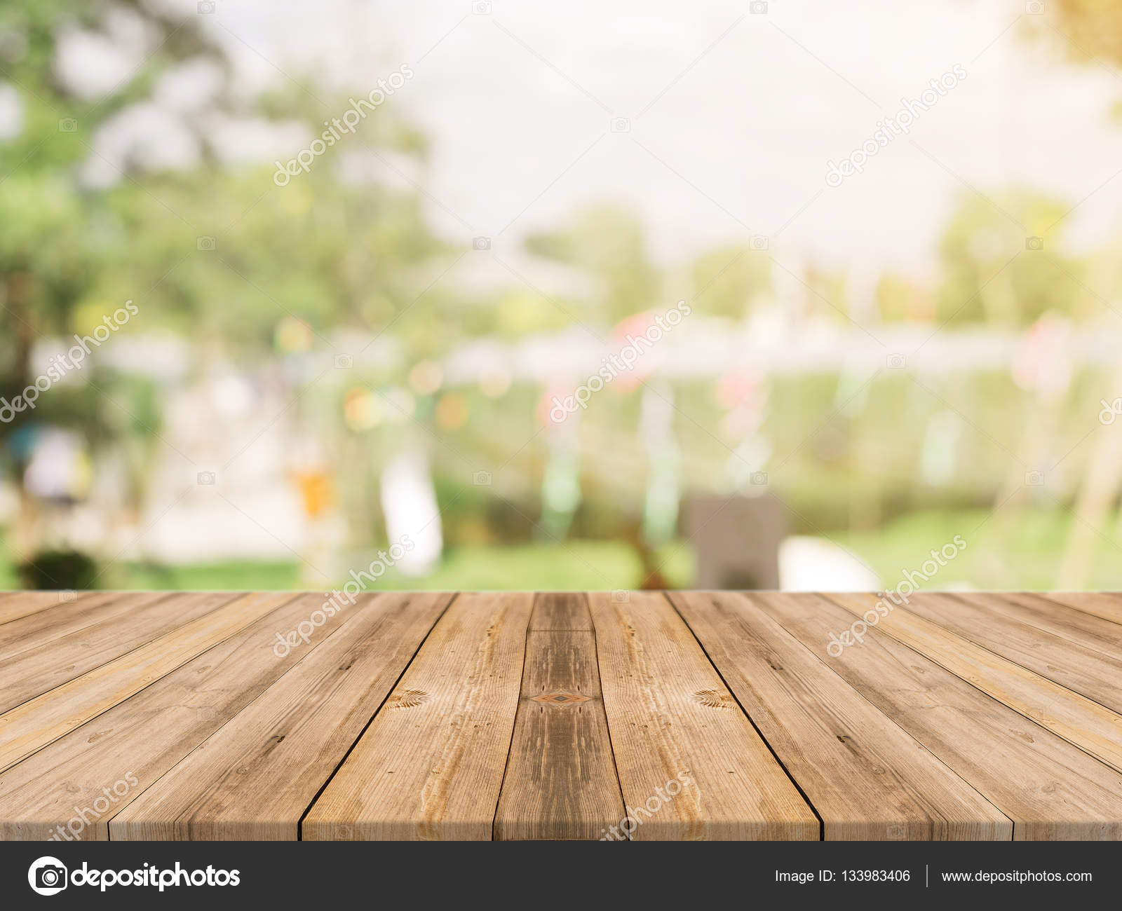 Coffee Shop Floor Plan Wooden Board Empty Table Top On Of Blurred Background