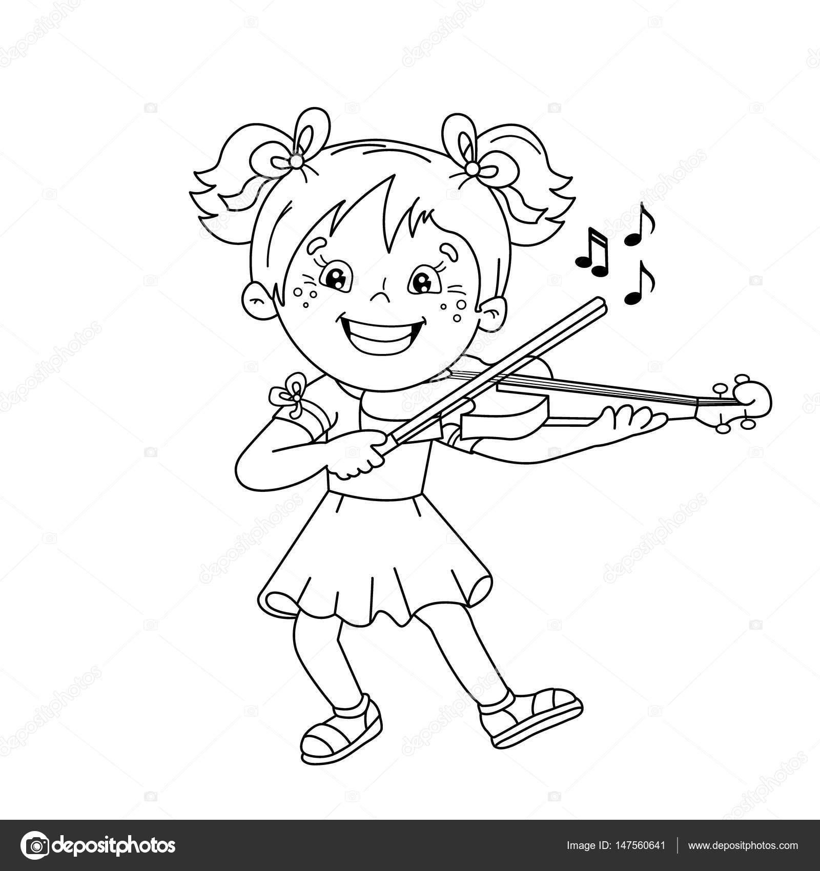 Para colorear esquema de página de dibujos animados niña ...