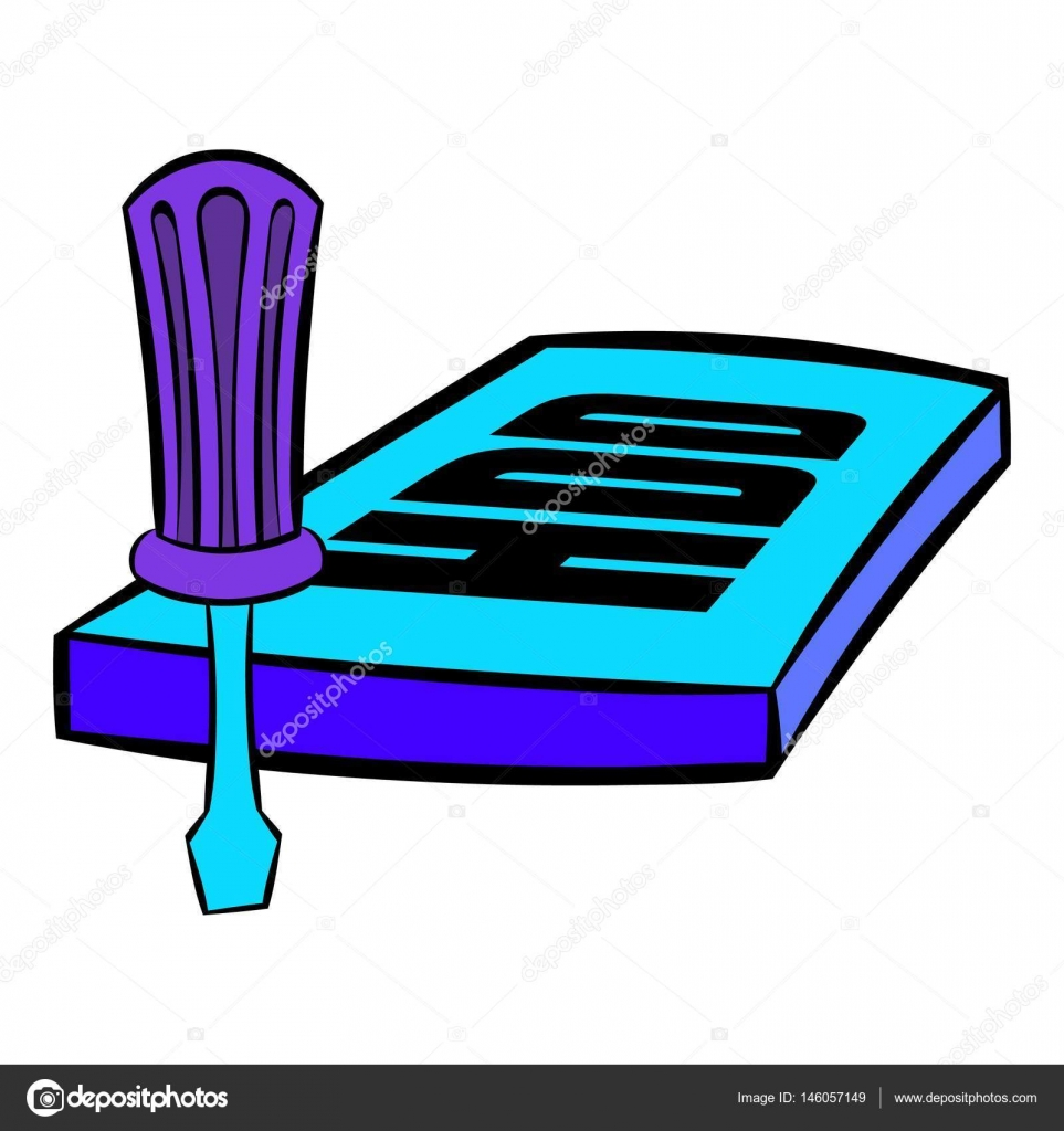 卡通风格分离向量插图中的螺丝刀和硬盘图标 — 图库矢量图片