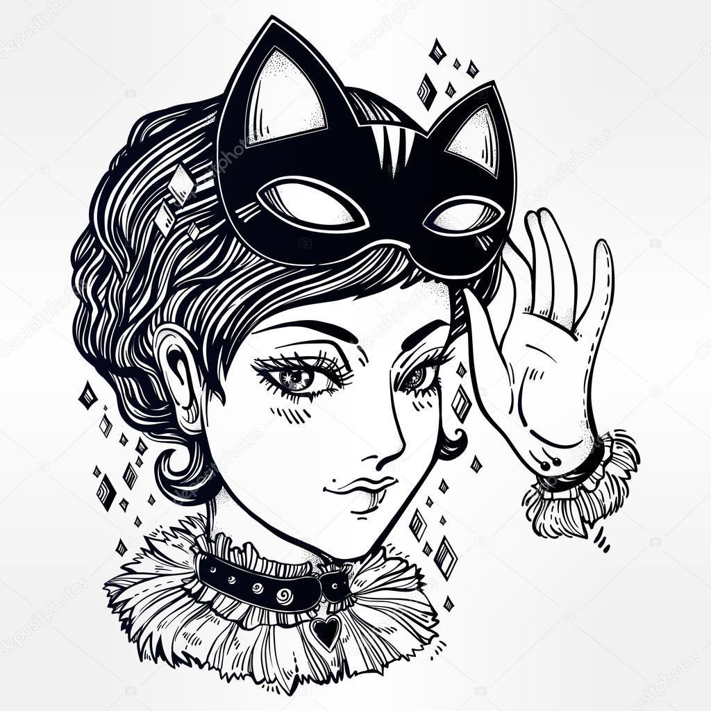 Donna di stile manga anime o retr con una mascherina del - Pagina colorazione maschera gatto ...