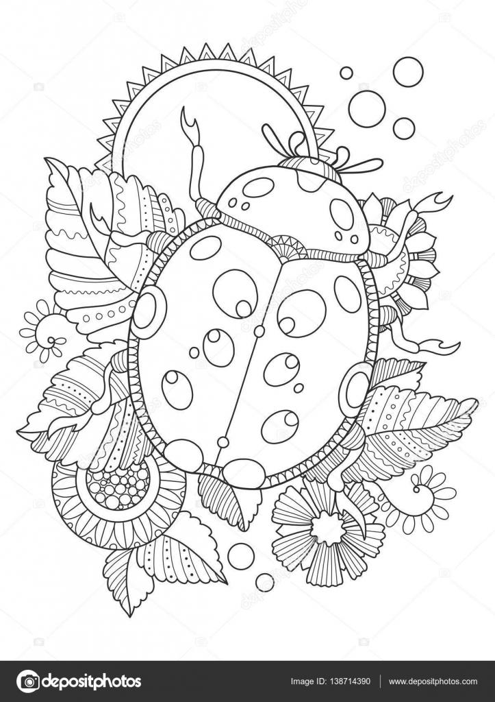Coccinella da colorare libro vettoriali stock for Ladybug da colorare