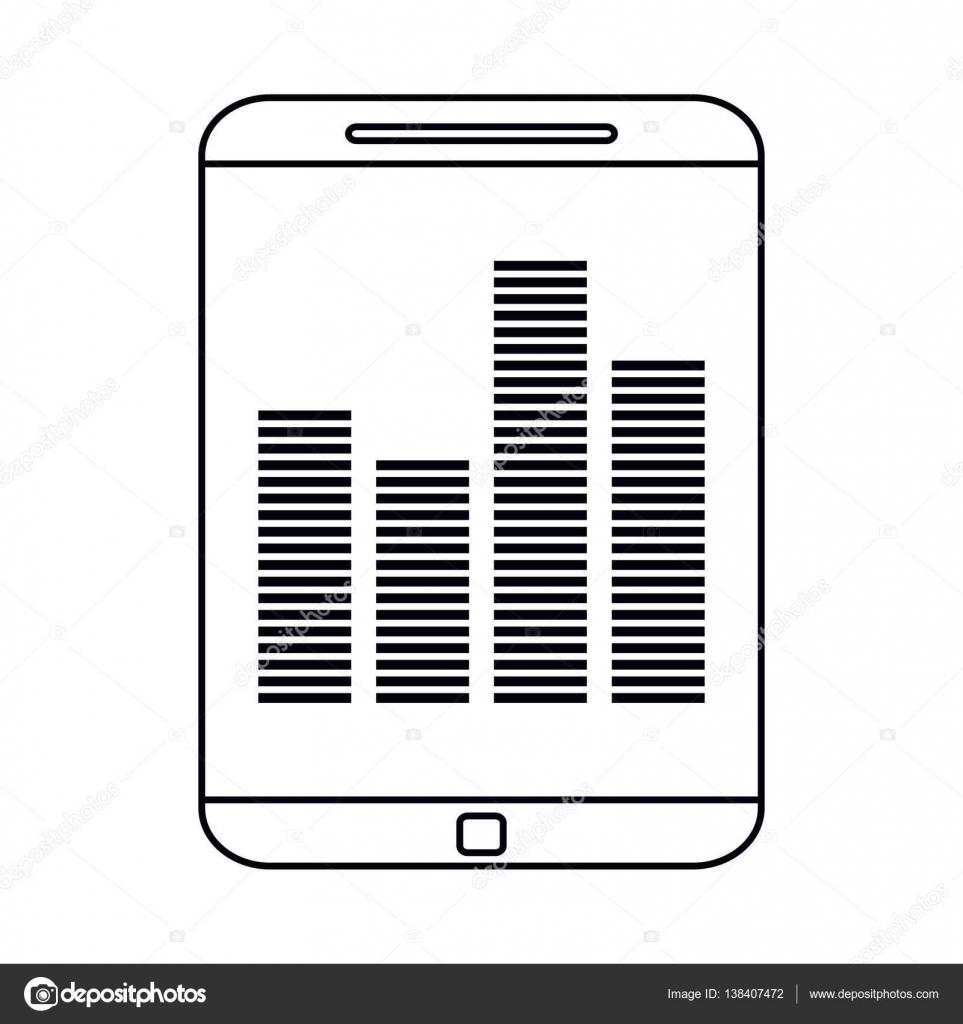 智能手机屏幕均衡器音乐轮廓矢量图 eps 10– 图库插图