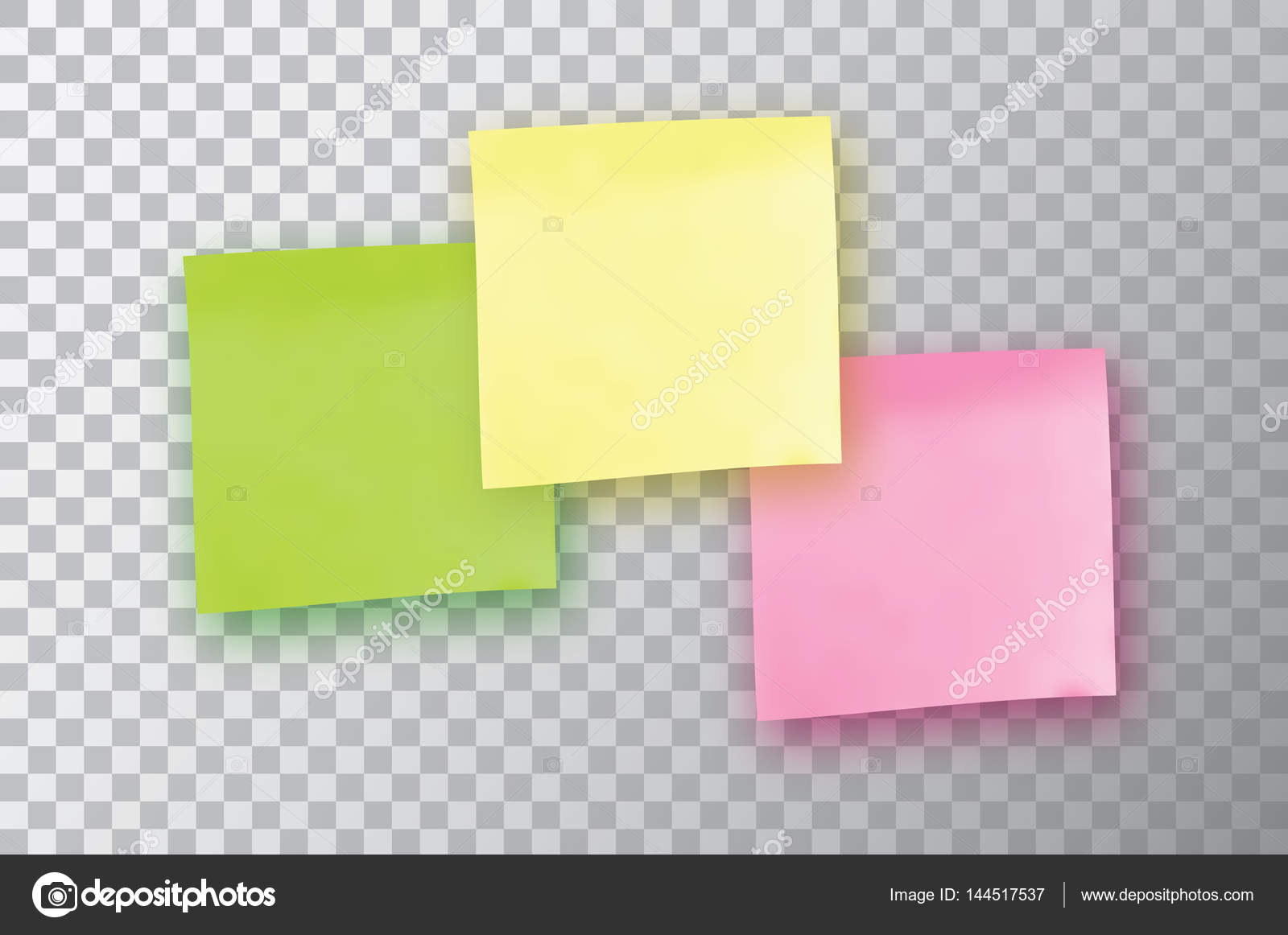 3 Colorful sticky note Template for your projects Three Sticker – Sticky Note Template