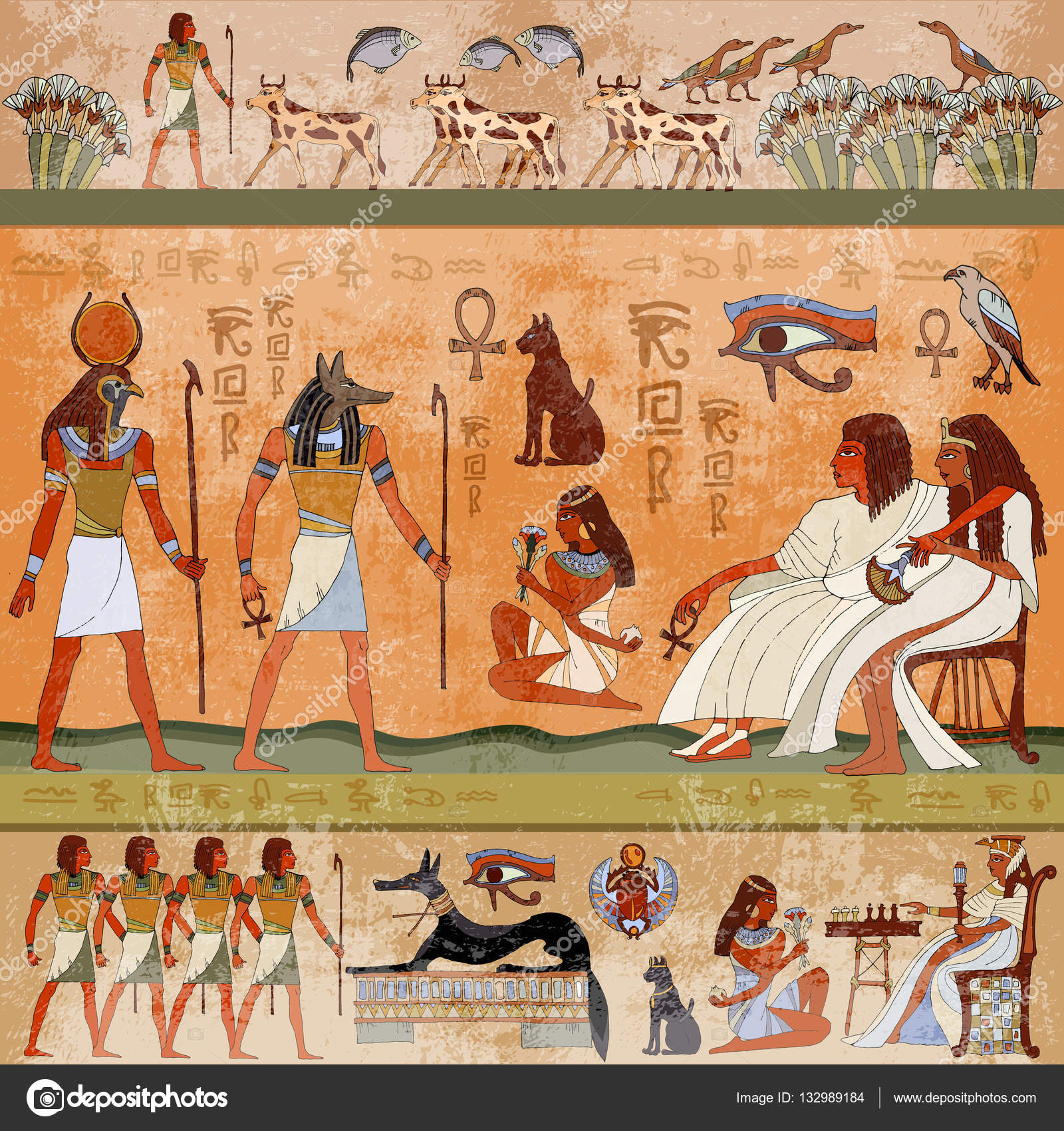 Ancient egypt scene murals ancient egypt hieroglyphic for Egyptian wall mural