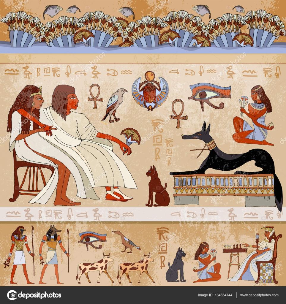 Ancient egypt scene egyptian gods and pharaohs stock for Mural egipcio