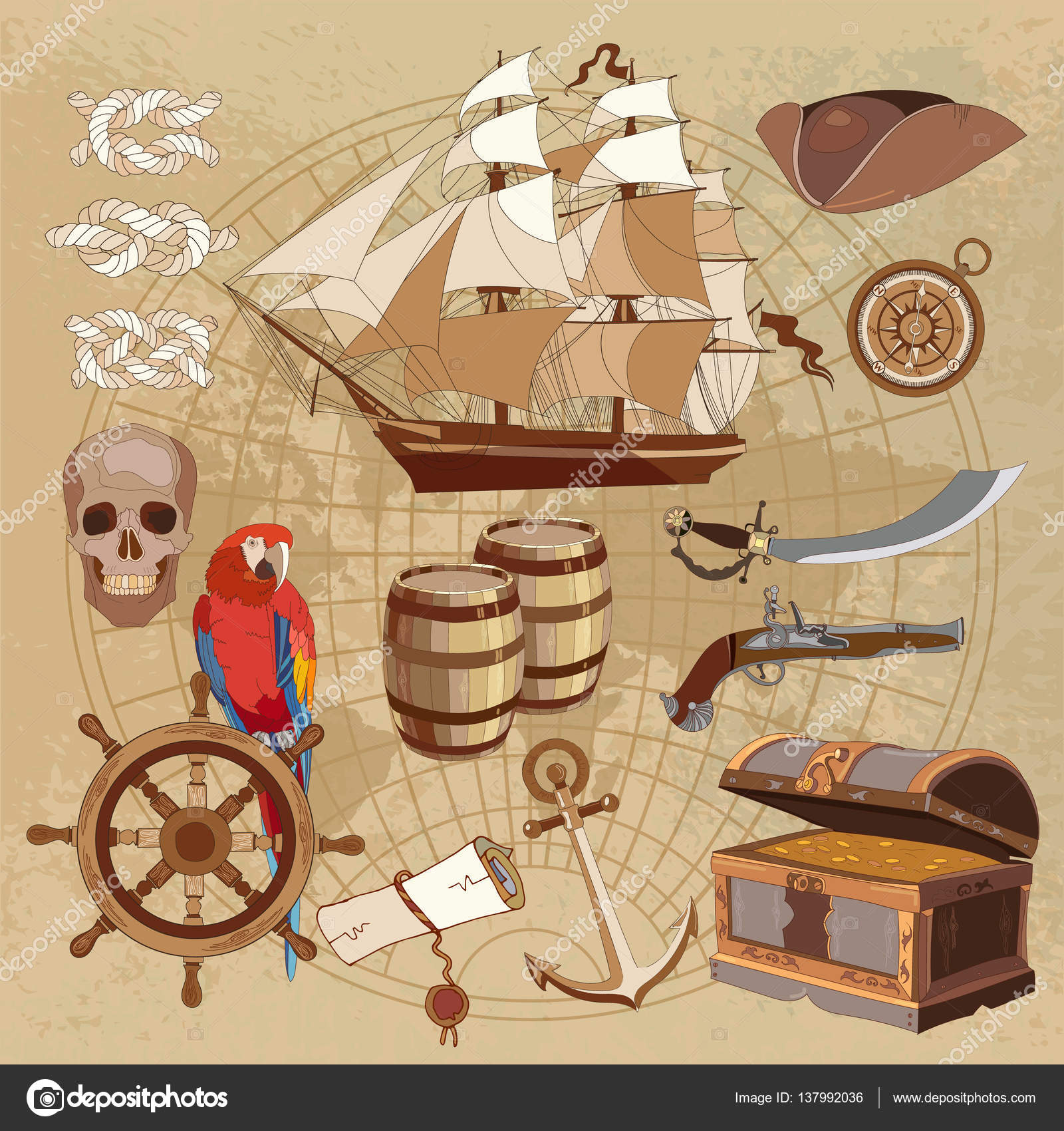 Old Pirate Treasure Map Treasure Chest Parrot Steering