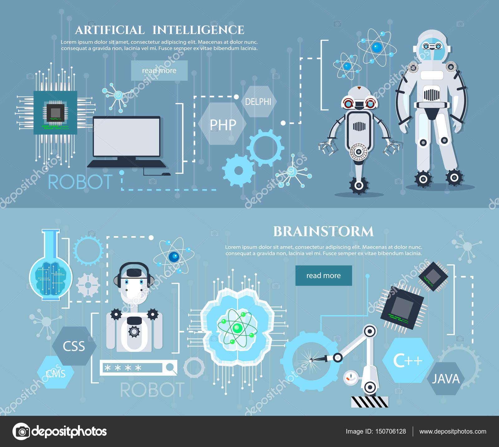 人工智能的机器人现代技术芯片发展未来技术矢量信息图表创建—