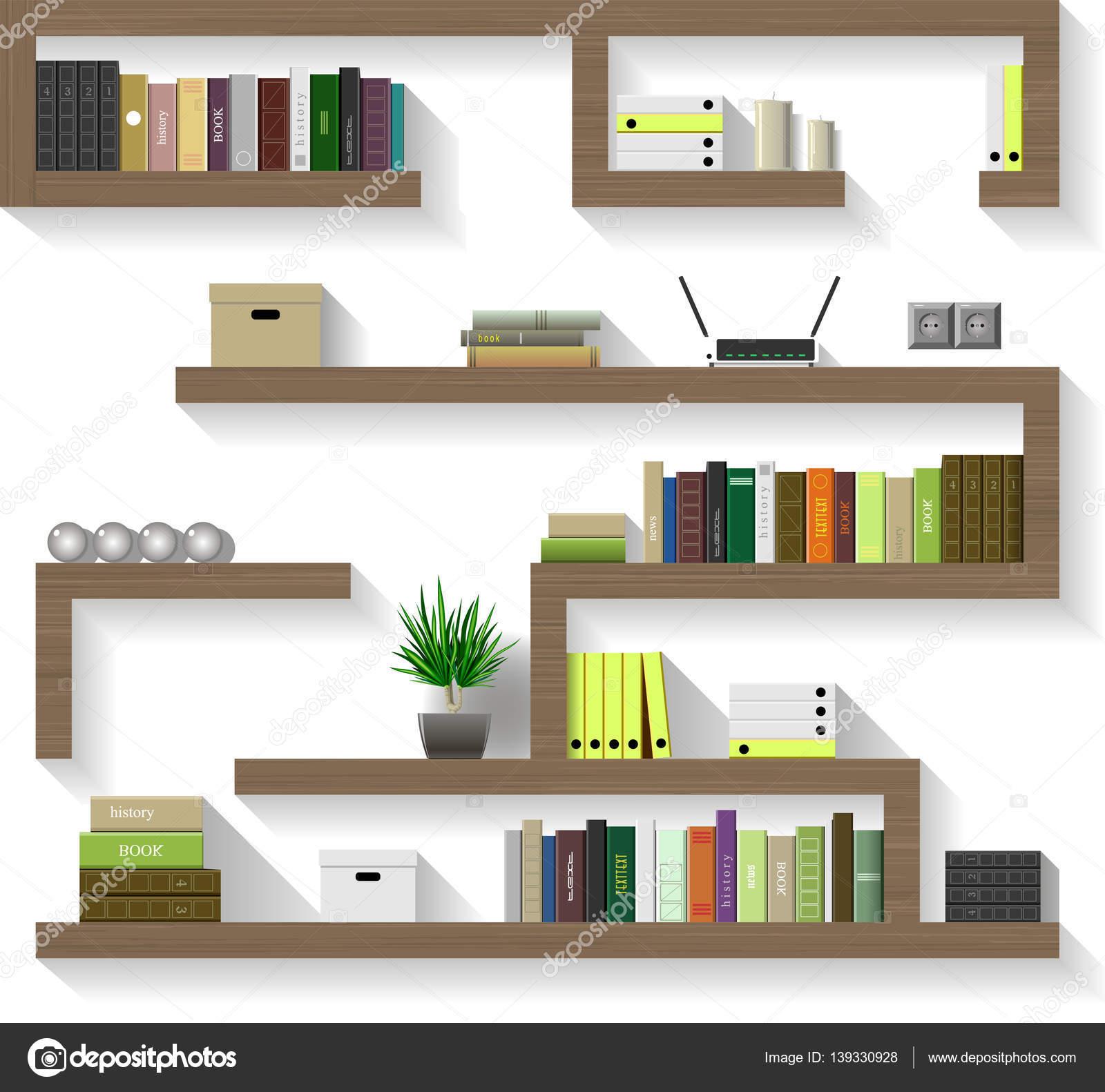 Interior wooden shelves free vector - Wooden Shelves For Living Stock Vector 139330928