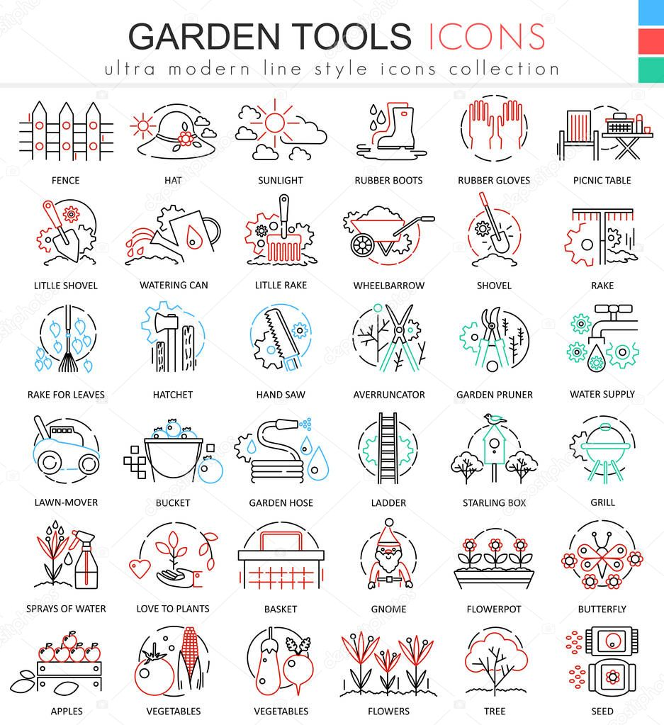 Modern colors web design - Vector Garden Tools Ultra Modern Color Outline Line Icons For Apps And Web Design