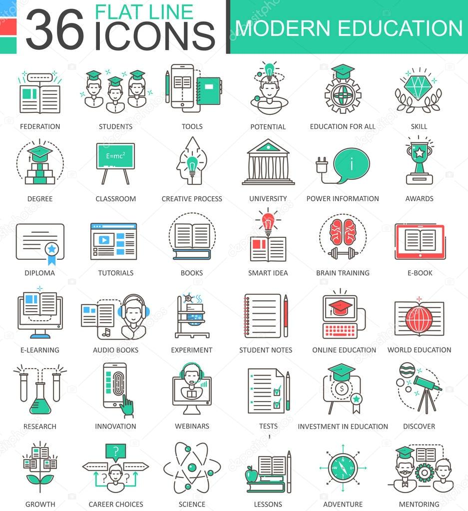 Modern colors web design - Vector Modern Education Color Flat Line Outline Icons For Apps And Web Design Internet Education