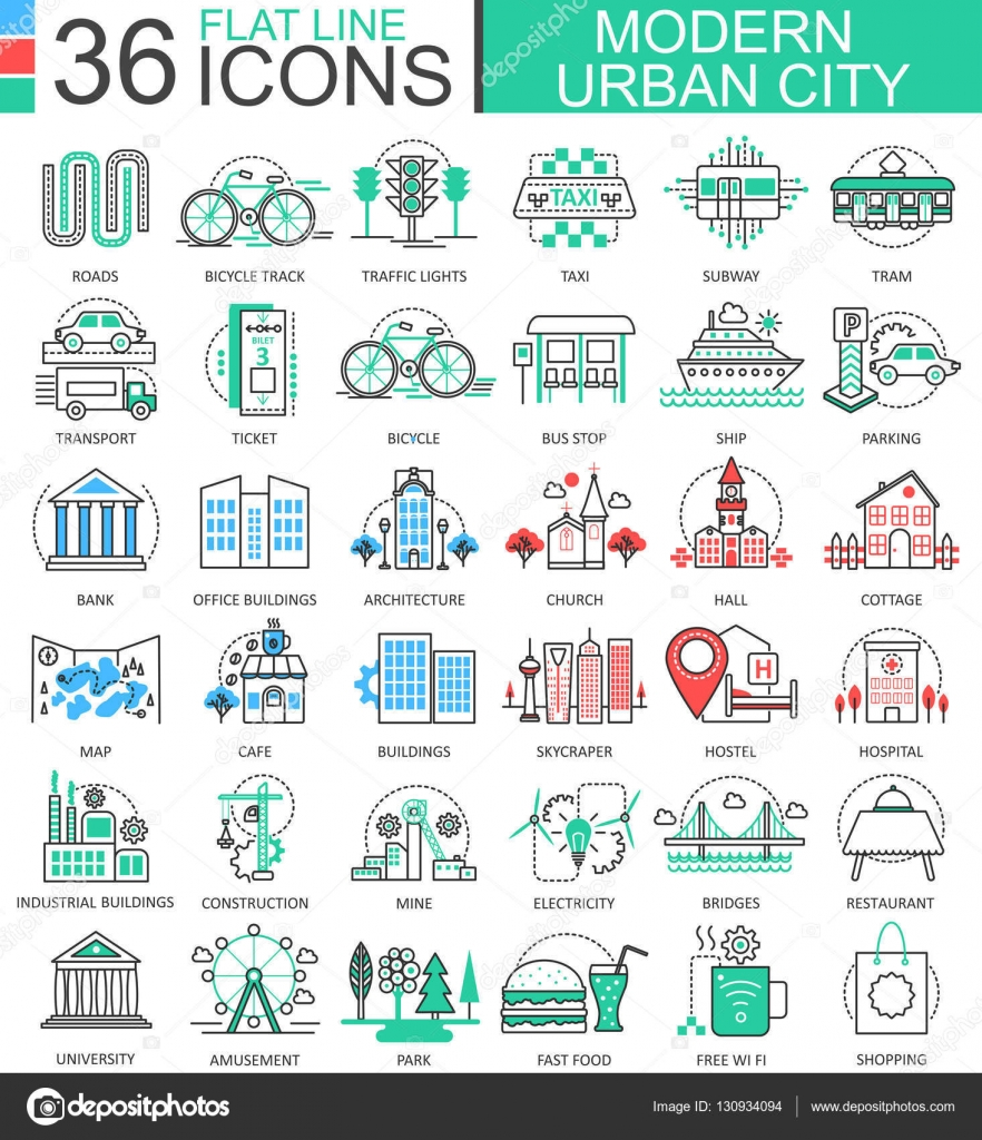 Modern colors web design - Vector Modern City Color Flat Line Outline Icons For Apps And Web Design Urban City