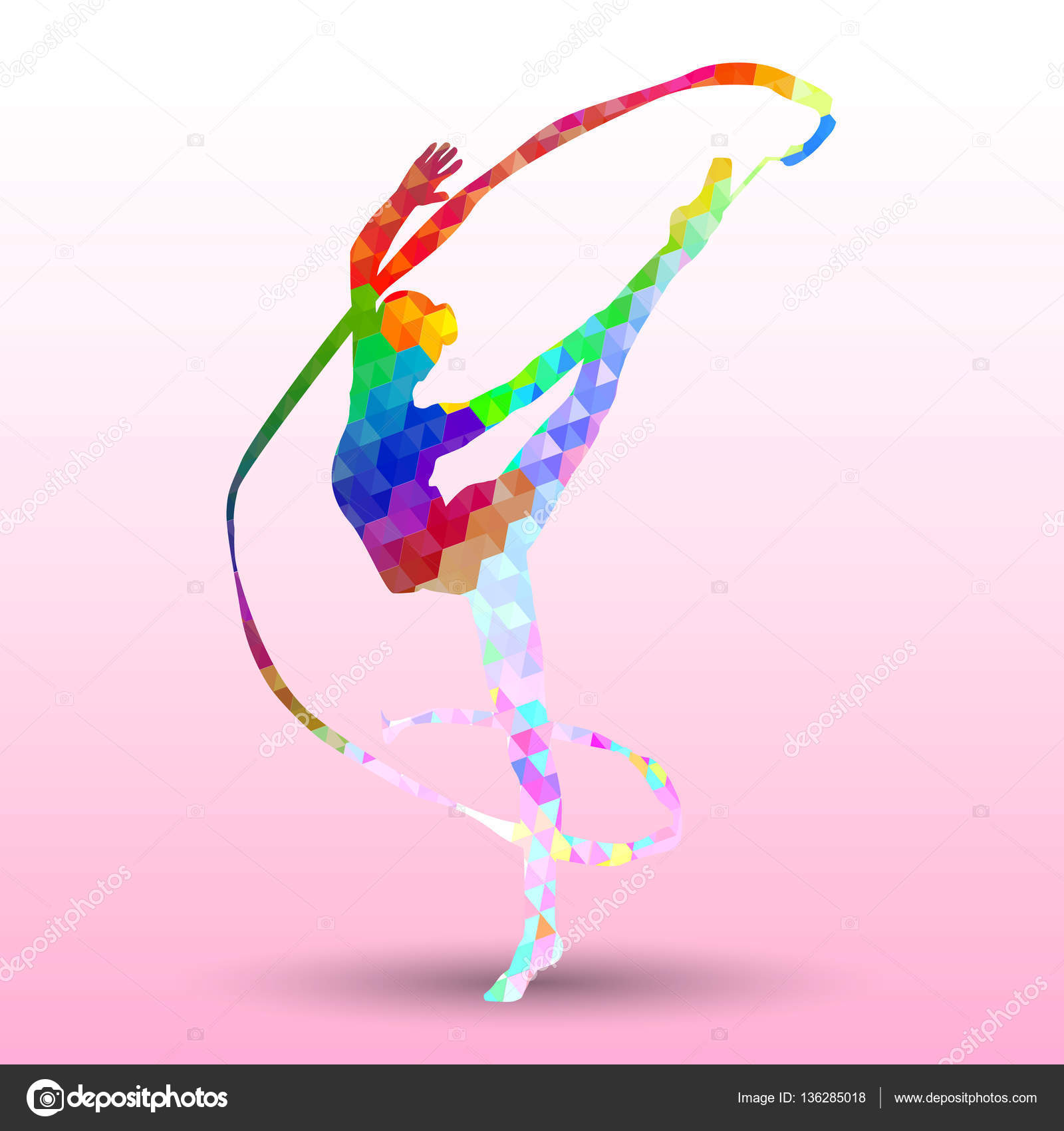 Creative Silhouette Of Gymnastic Girl Art Gymnastics With