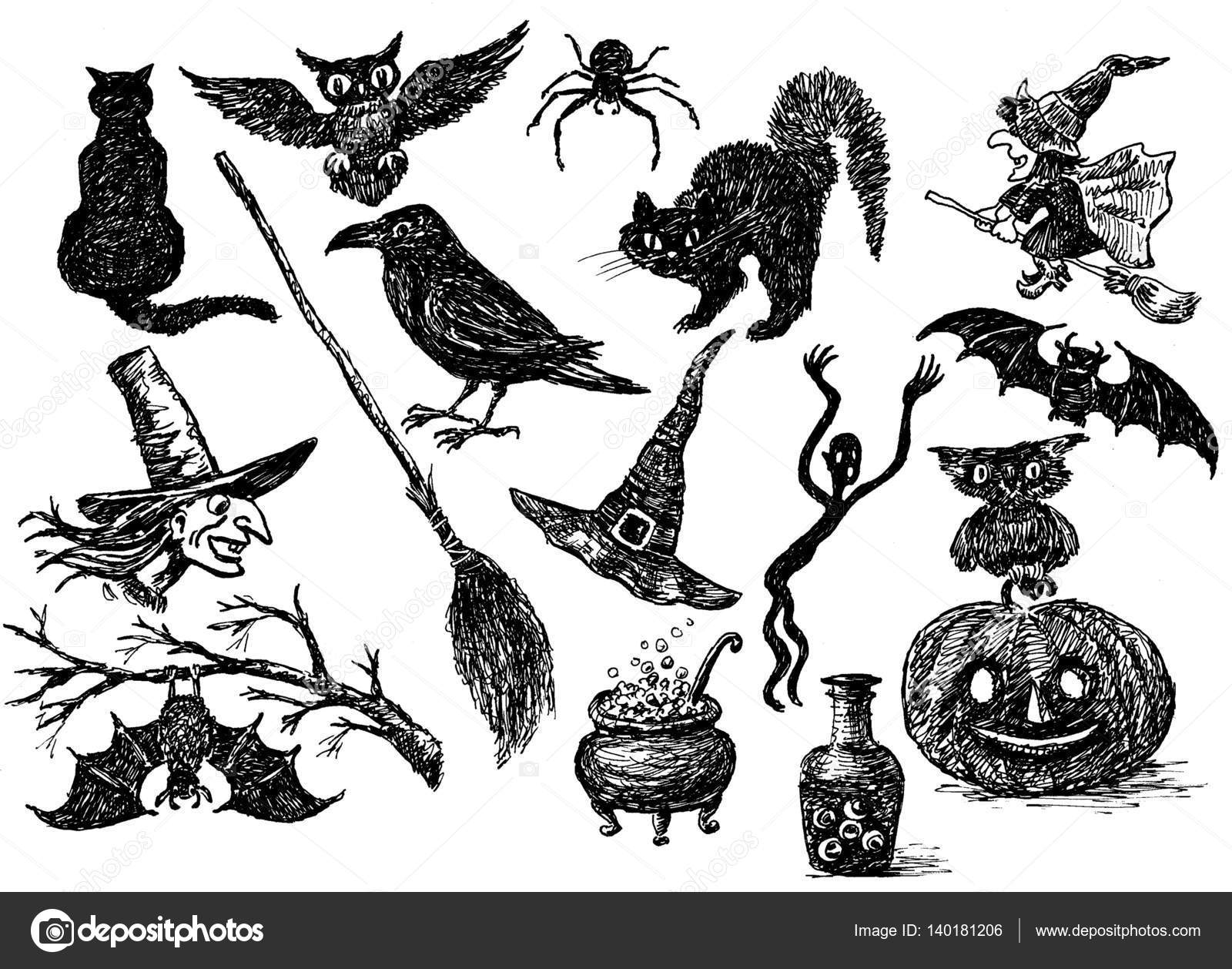 Gmail themes halloween - Sketches Of The Theme Of Halloween Stock Photo 140181206