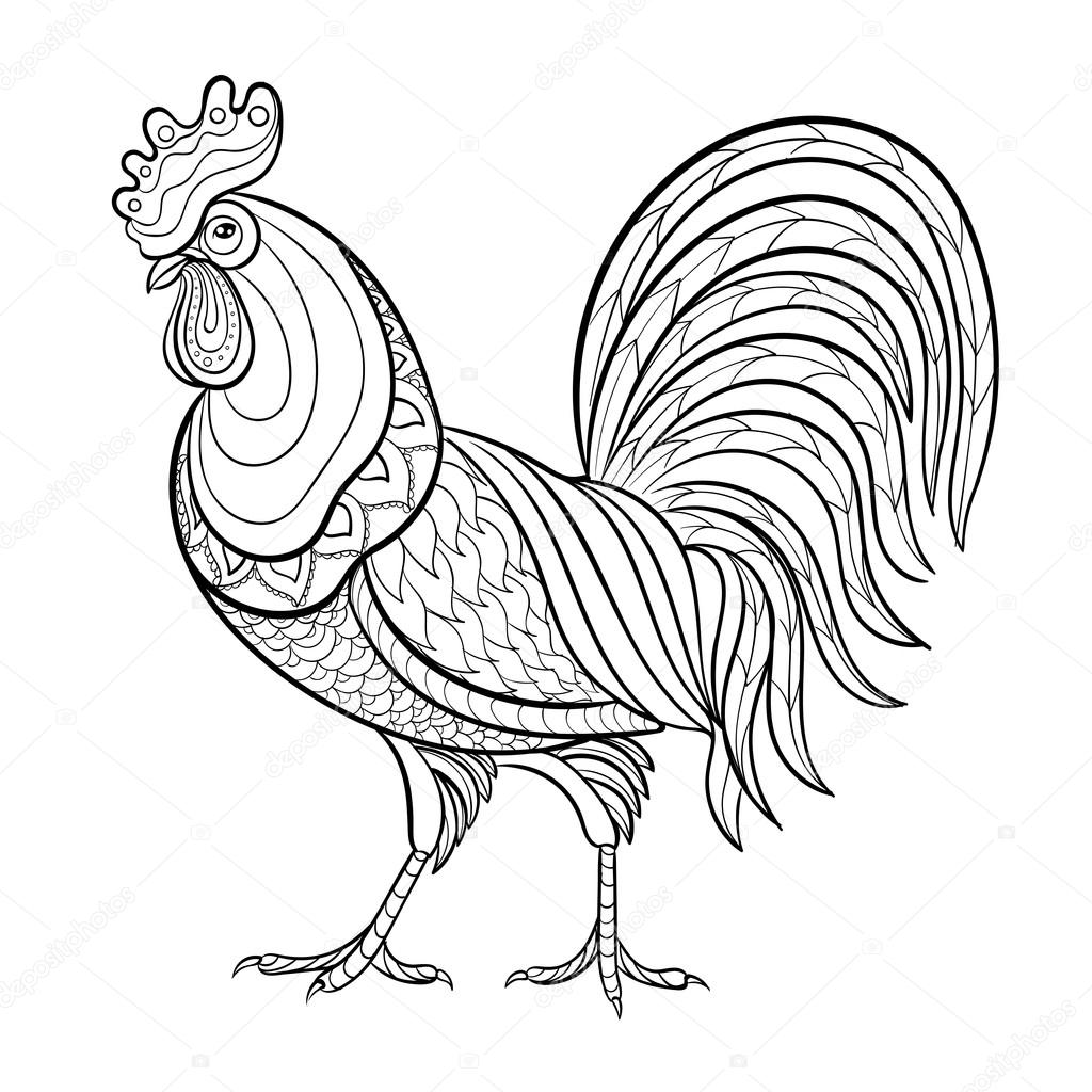 Coloring Pages For Adults Rooster : Rooster pages for adults coloring