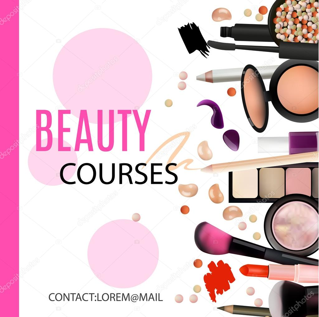 Make a poster design - Beauty Courses Poster Design Cosmetic Products Professional Make Up Care Printable Template