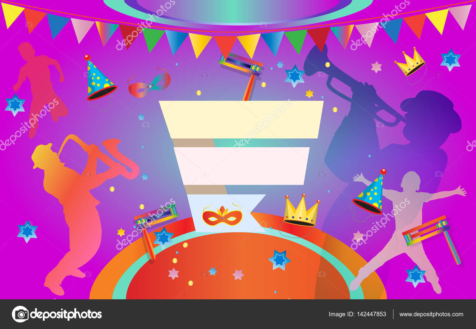 happy purim carnival festival masquerade music poster happy purim carnival festival masquerade music poster invitation holiday kids party poster design vector jewish holiday children event funny flyer
