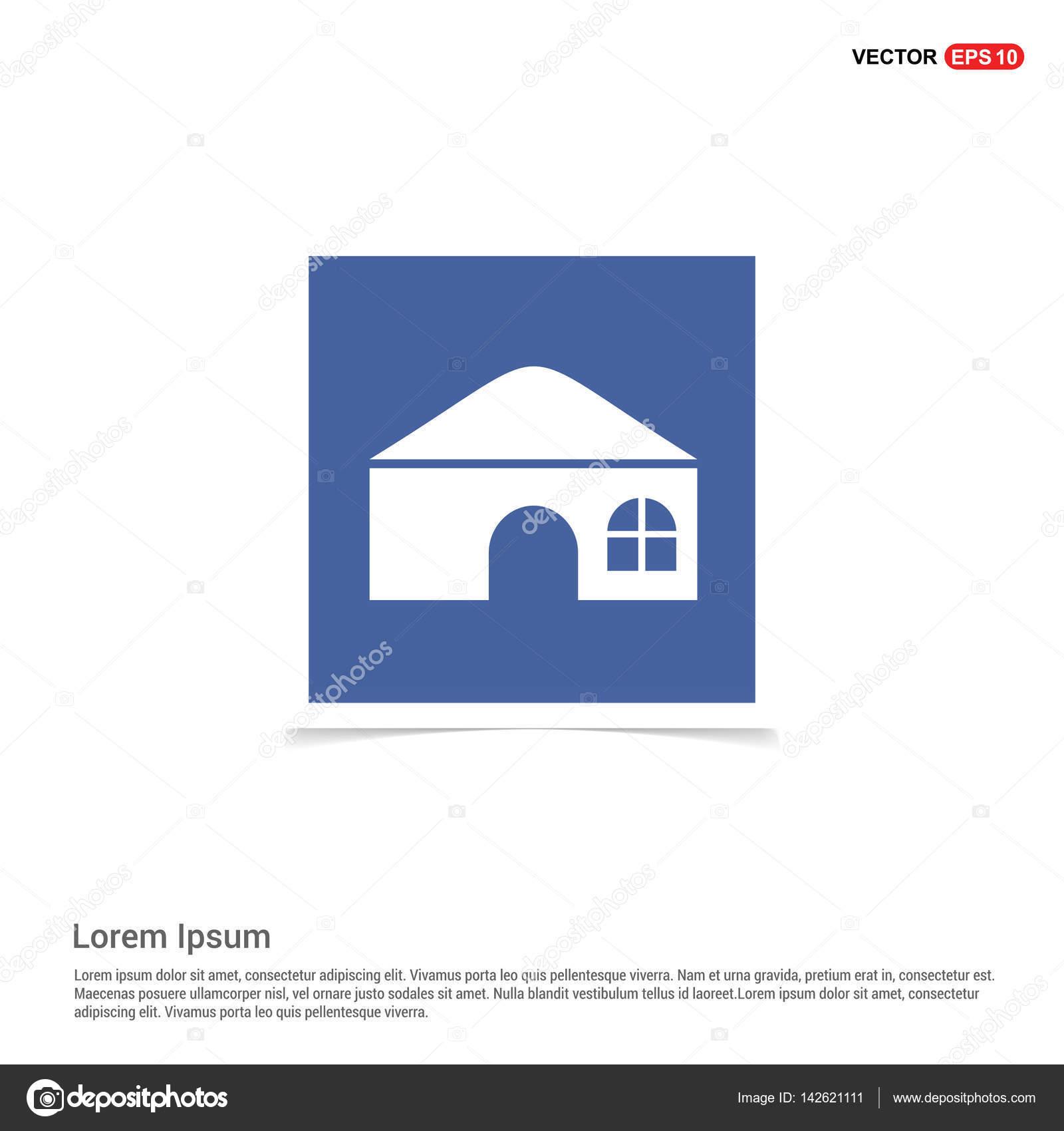 房屋平面图标蓝色照片卡,矢量图上– 图库插图