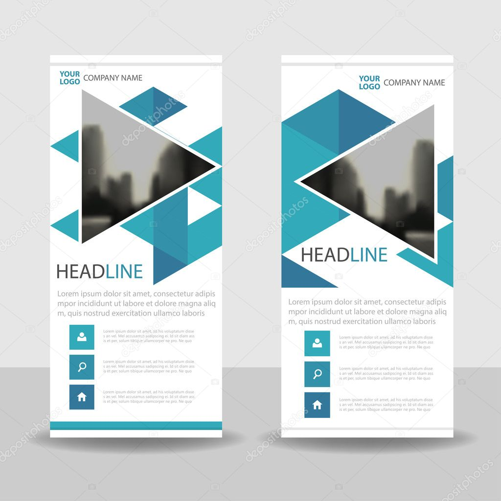 blue triangle business roll up banner flat design template blue triangle business roll up banner flat design template abstract geometric banner template vector illustration set abstract presentation brochure flyer