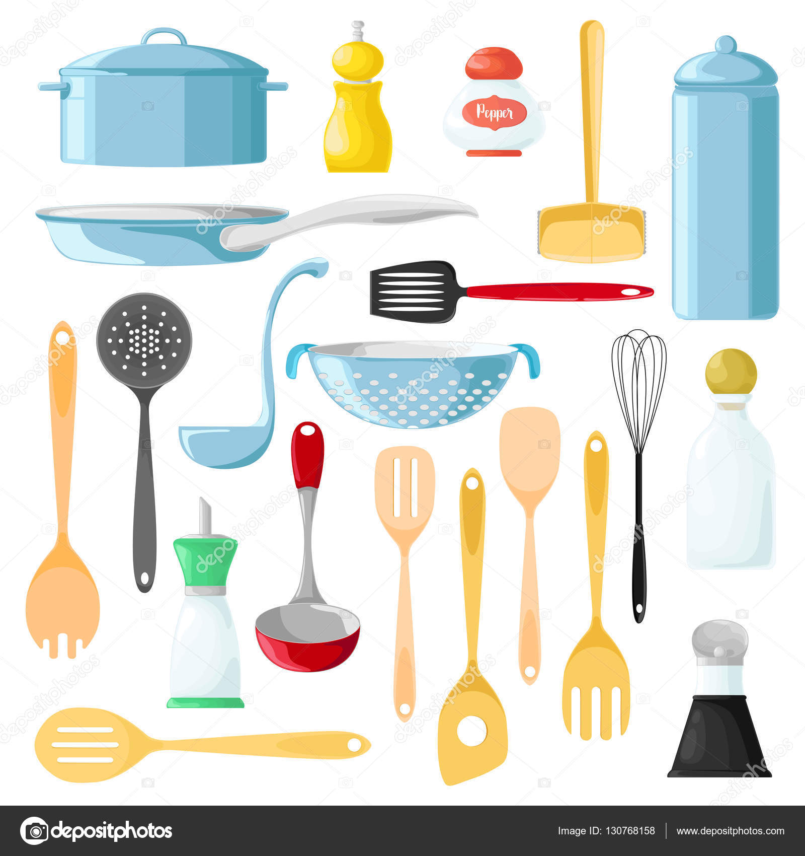 Conjunto de utensilios diferentes para cocinar cuchara de for Utensilios para cocinar