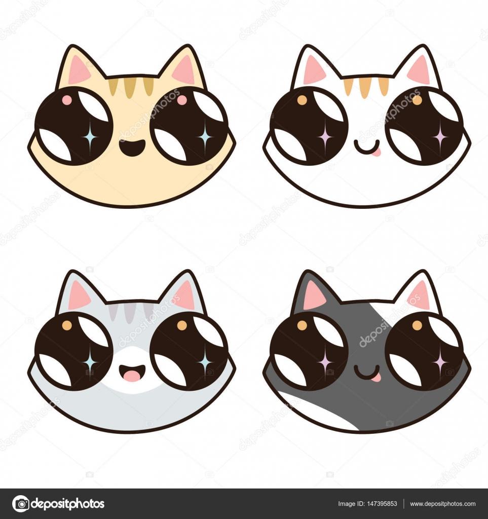 4 猫脸.不同品种的可爱的卡通小猫 — 图库矢量图片#147395853