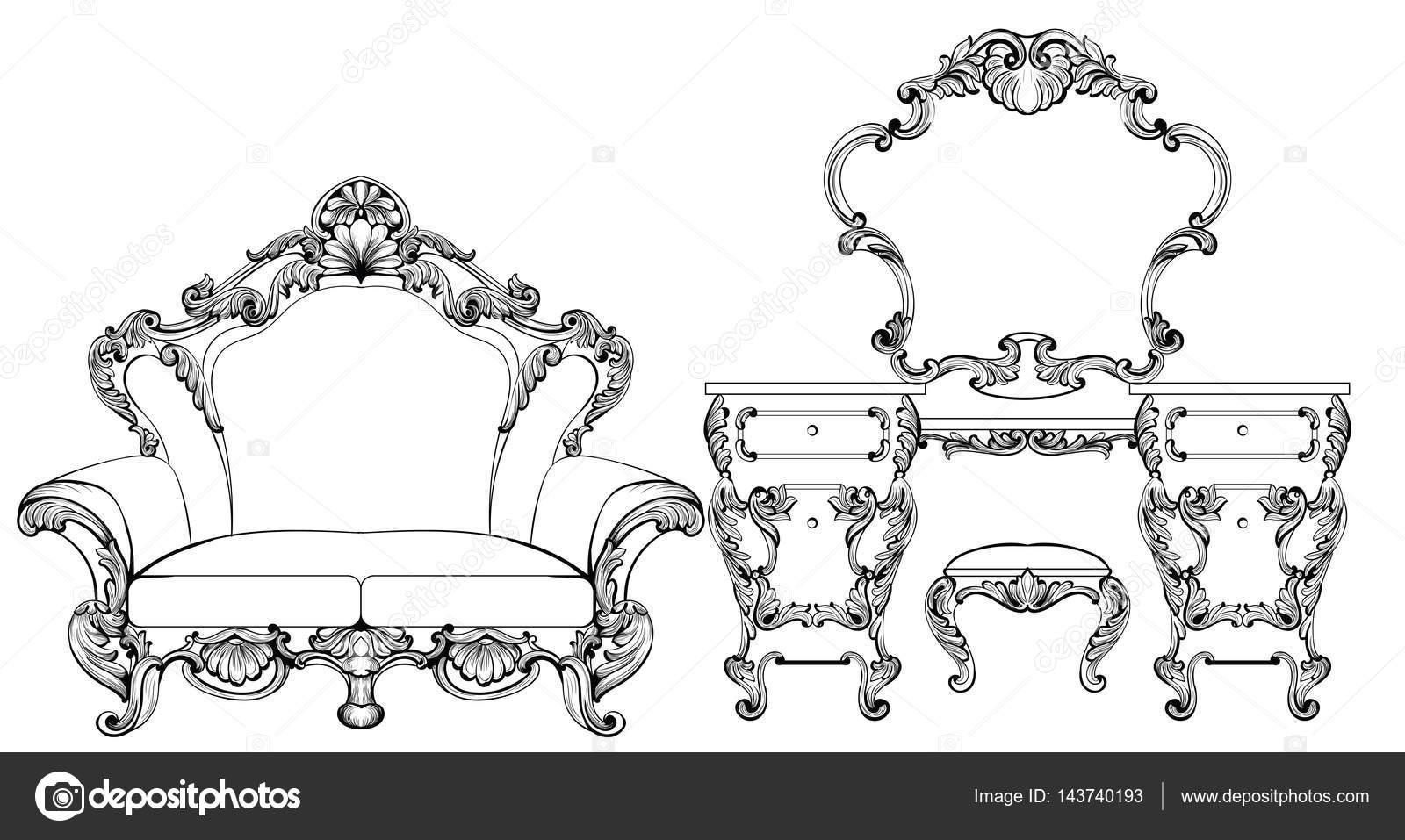 exquisite fabelhafte imperial barock möbel und schminktisch