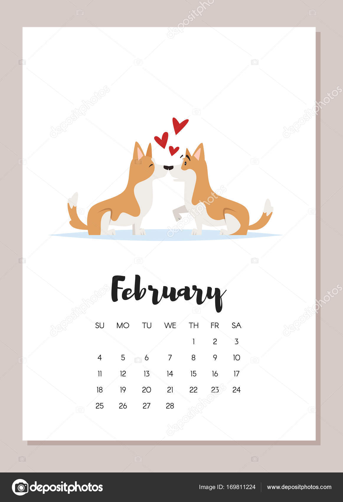 February 2018 year calendar page — Stock Vector © tkronalter9 ...