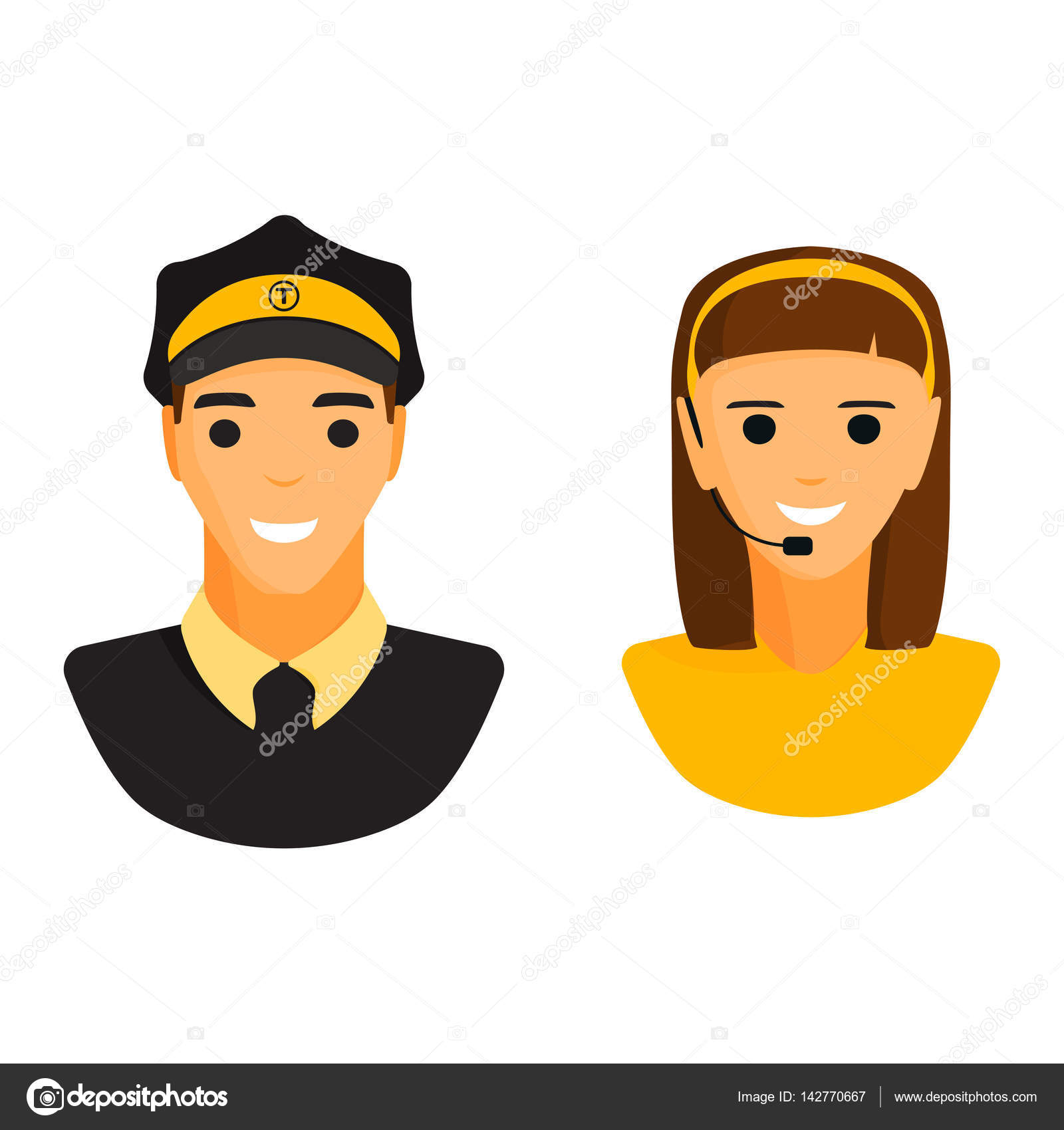 Limo chauffeur taxi driver and dispatcher woman character vector ...