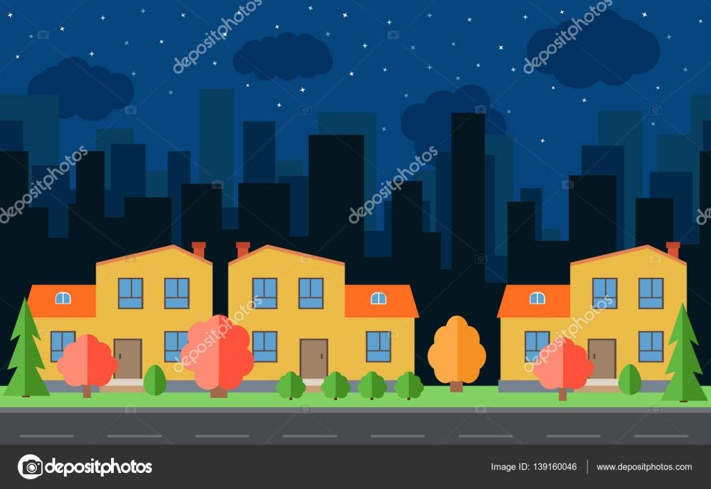 Ville de nuit Vector avec dessin animé maisons et