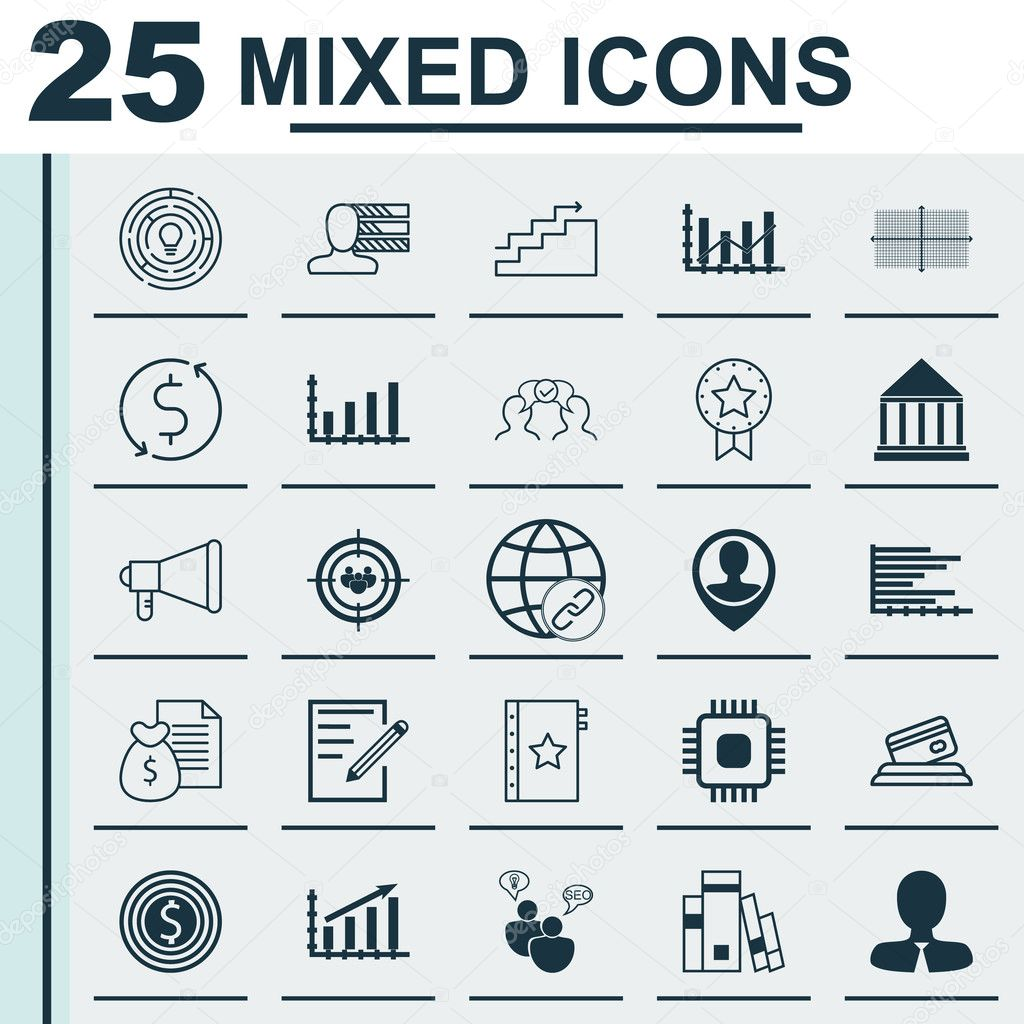 set of 25 universal icons on present badge bars chart raise vector icon set including cooperation personal skills profit graph and other icons vector by aalbedouin gmail com