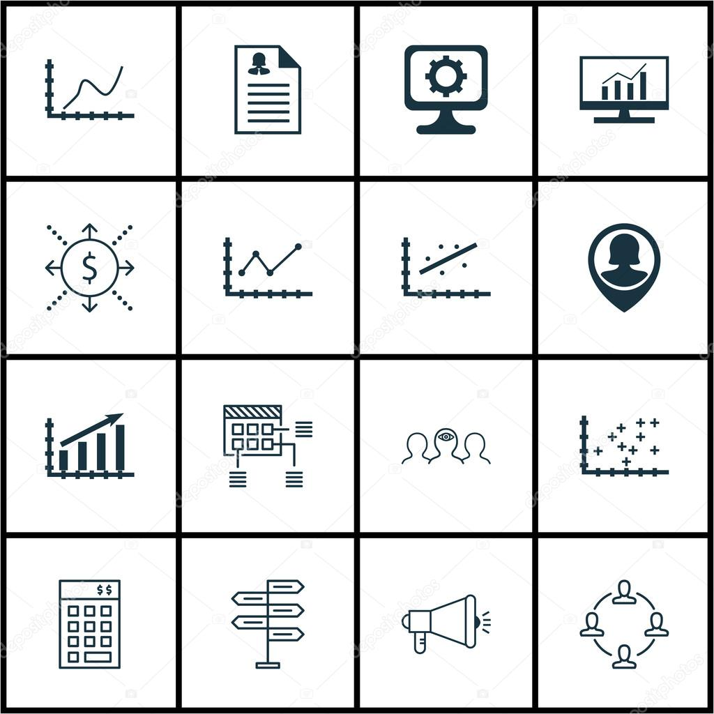 Set Of 16 Universal Editable Icons For Business Management, Human ...
