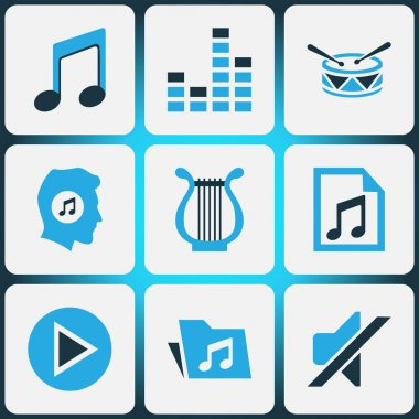 Audio Colored Icons Set. Collection Of Mute, Mixer, Music Lover And Other Elements. Also Includes Symbols Such As Instrument, Mute, Equalizer.