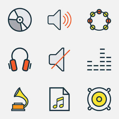 Audio Colored Outlines Set. Collection Of Tambourine, Loudspeakers, Earphones And Other Elements. Also Includes Symbols Such As Tambourine, Instrument, Speaker.