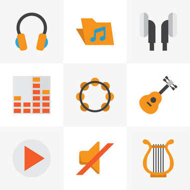 Music Flat Icons Set. Collection Of Sonata, Button, Controlling And Other Elements. Also Includes Symbols Such As Earmuff, Volume, Philharmonic.
