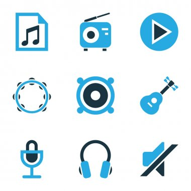 Audio Colored Icons Set. Collection Of Headset, Play, Guitar And Other Elements. Also Includes Symbols Such As Fm, Button, Musical.