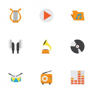 Multimedia Flat Icons Set. Collection Of Portfolio, Earpiece, Broadcasting And Other Elements. Also Includes Symbols Such As Vinyl, Dj, Drum.
