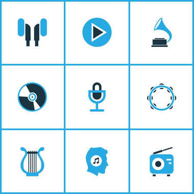 Audio Colored Icons Set. Collection Of Gramophone, Harp, Vinyl And Other Elements. Also Includes Symbols Such As Harp, Tambourine, Earmuff.