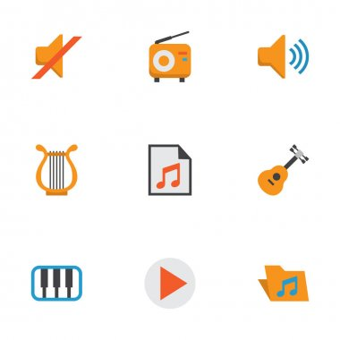 Multimedia Flat Icons Set. Collection Of Sonata, Broadcasting, Portfolio And Other Elements. Also Includes Symbols Such As Radio, List, Pianoforte.