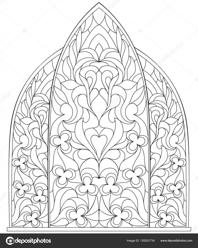 Black And White Page For Coloring Fantasy Drawing Of Beautiful Gothic Windows With Stained