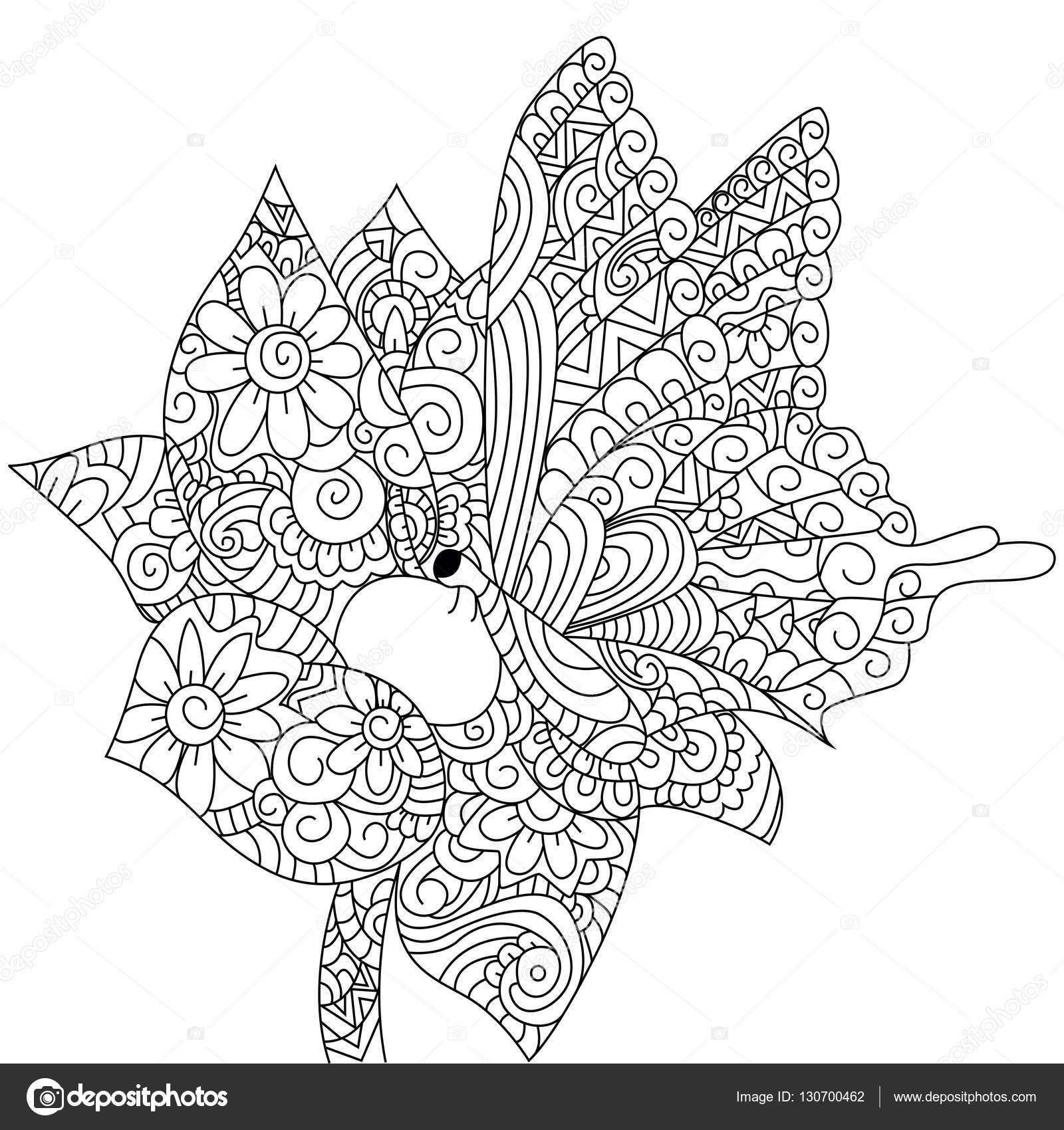Mariposa En Una Flor De Vector De Libro Para Colorear Para