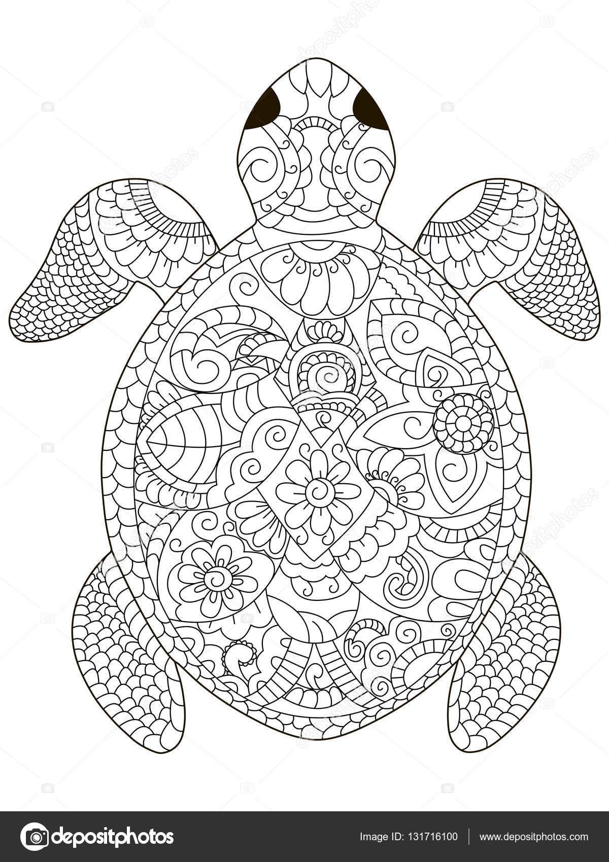 Tortue de mer vector de coloriage pour adultes image - Coloriage pour adulte ...