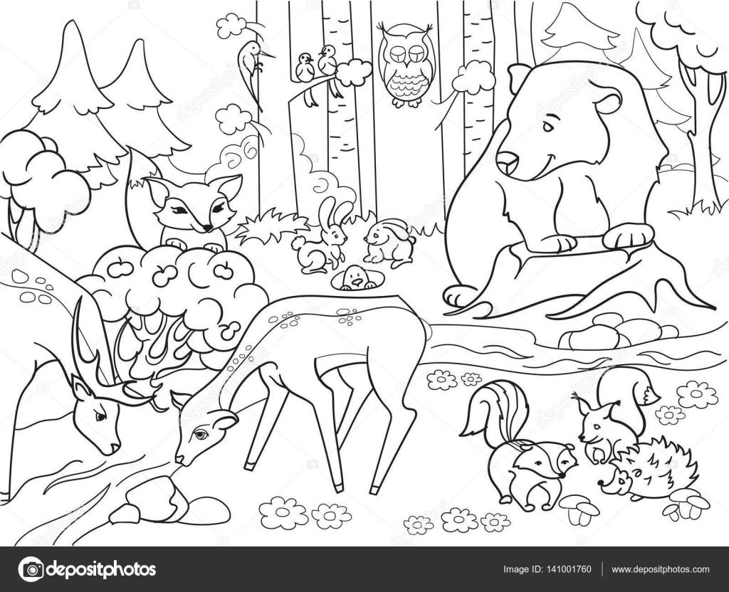 Paesaggio della foresta con animali da colorare vettoriale for Disegni da colorare animali della foresta