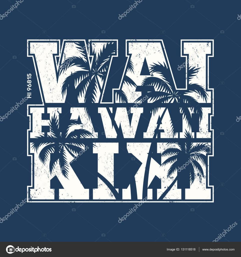 T shirt design hawaii - Hawaii Waikiki Tee Print With Palm Trees T Shirt Design Graphics Stamp