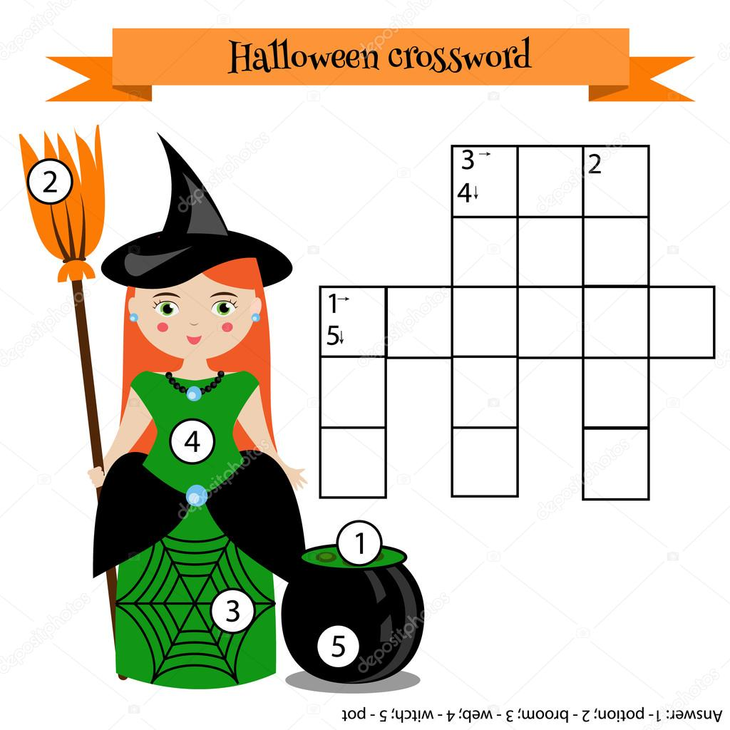 Gmail themes halloween - Learning Vocabulary Vector Illustration Printable Worksheet With Witch Character Halloween Theme Vector By Bonnyheize Gmail Com