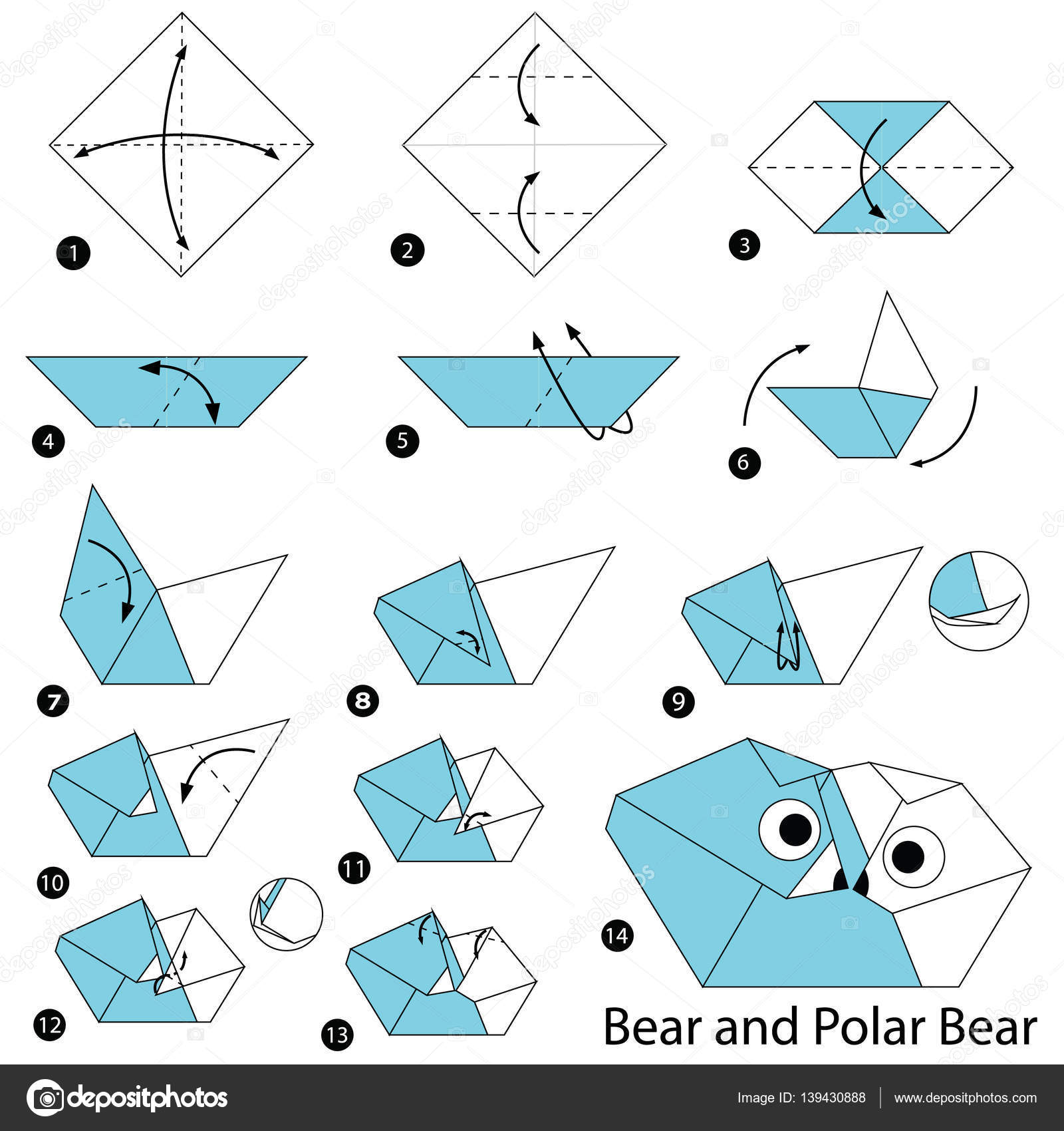 Белый медведь схема оригами