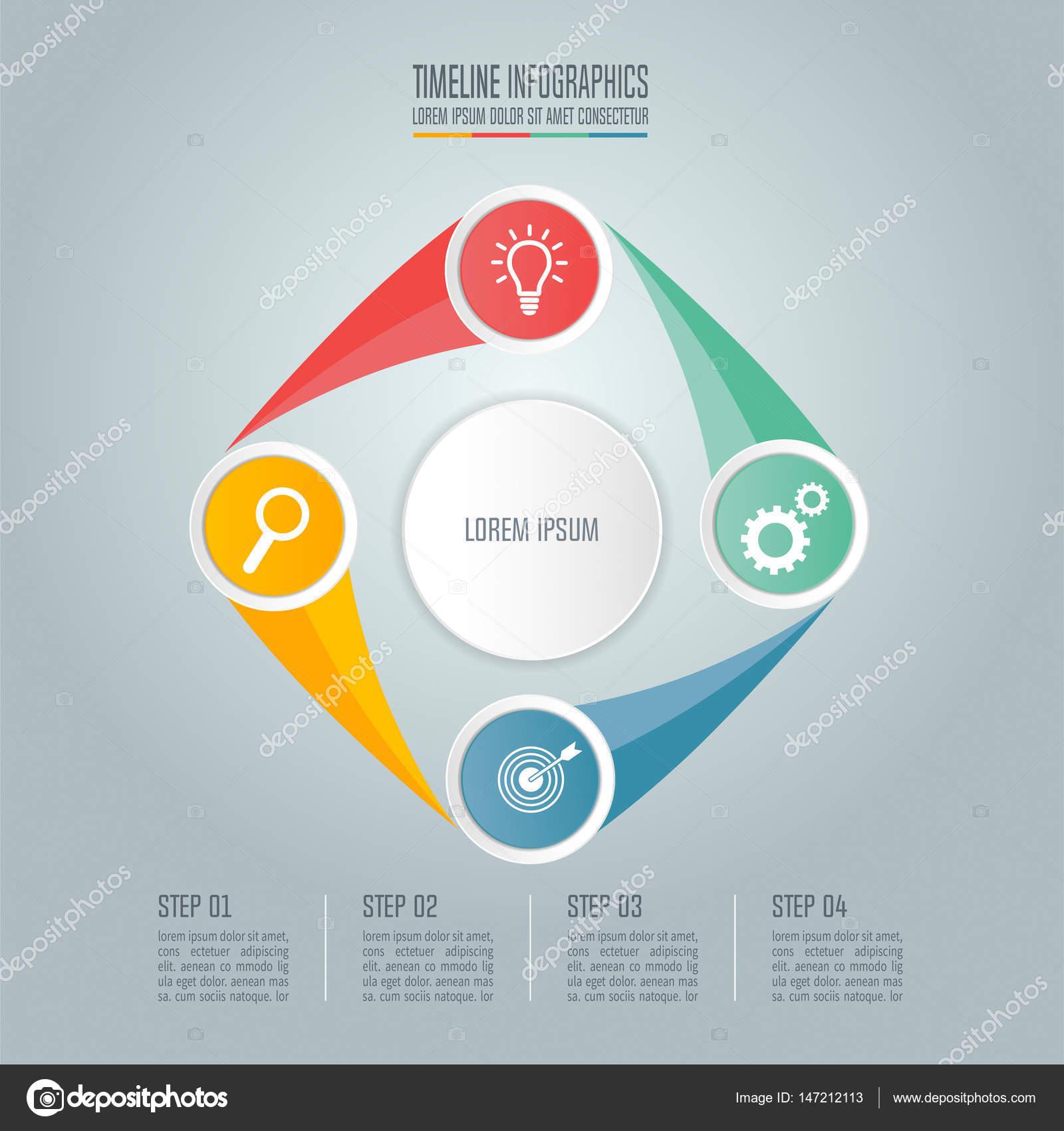 时间线图表设计演示文稿, 工作流布局, 图, 年度报告, web 设计的向量