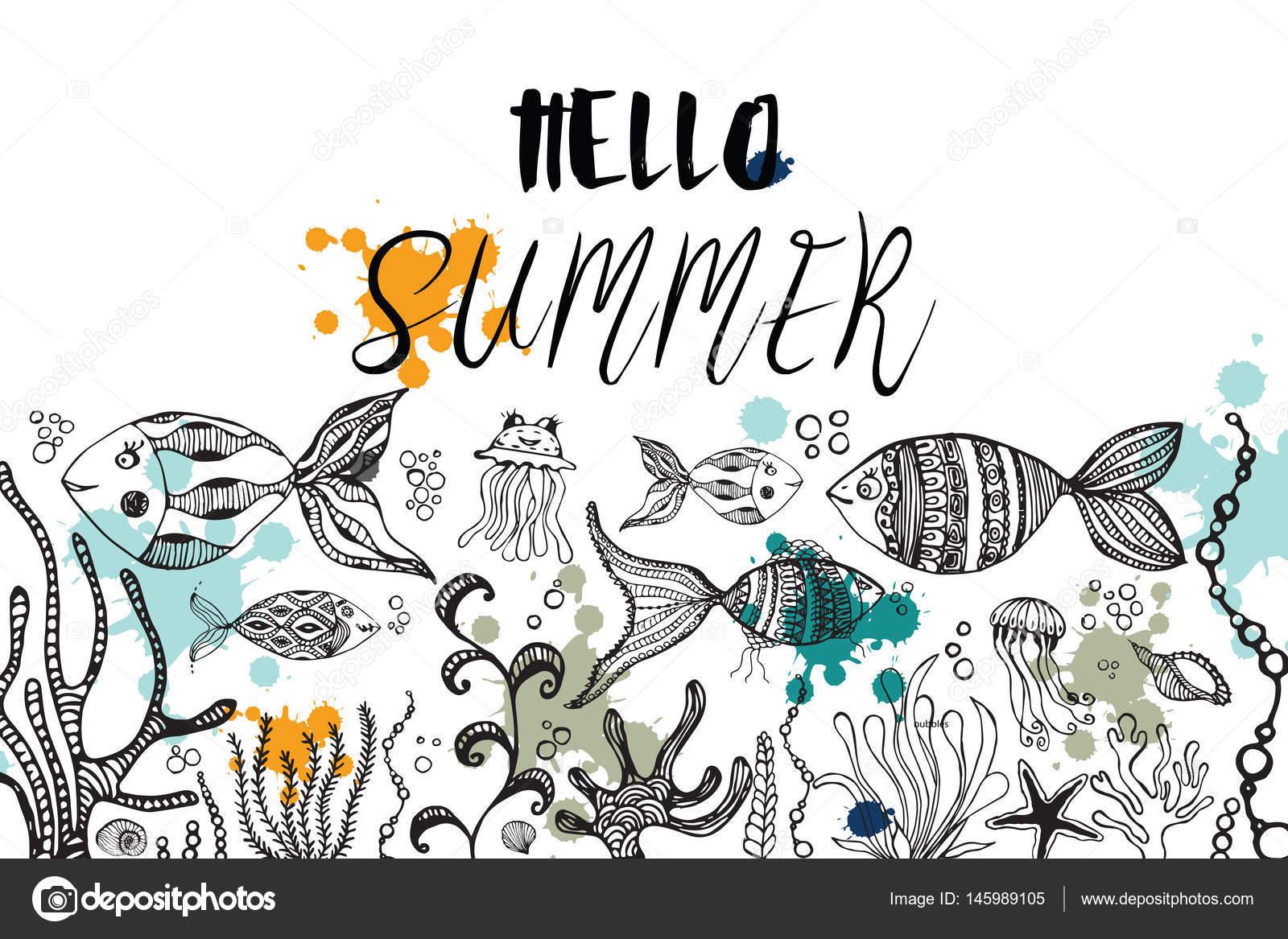 涂鸦抽象装饰夏天矢量帧.贺卡设计.鱼和美杜莎, 贝壳和海藻
