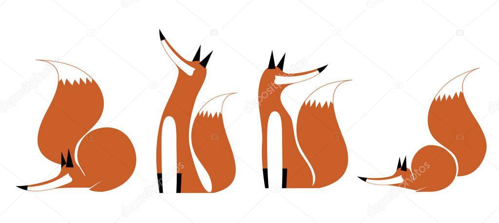 Jumping fox silhouette