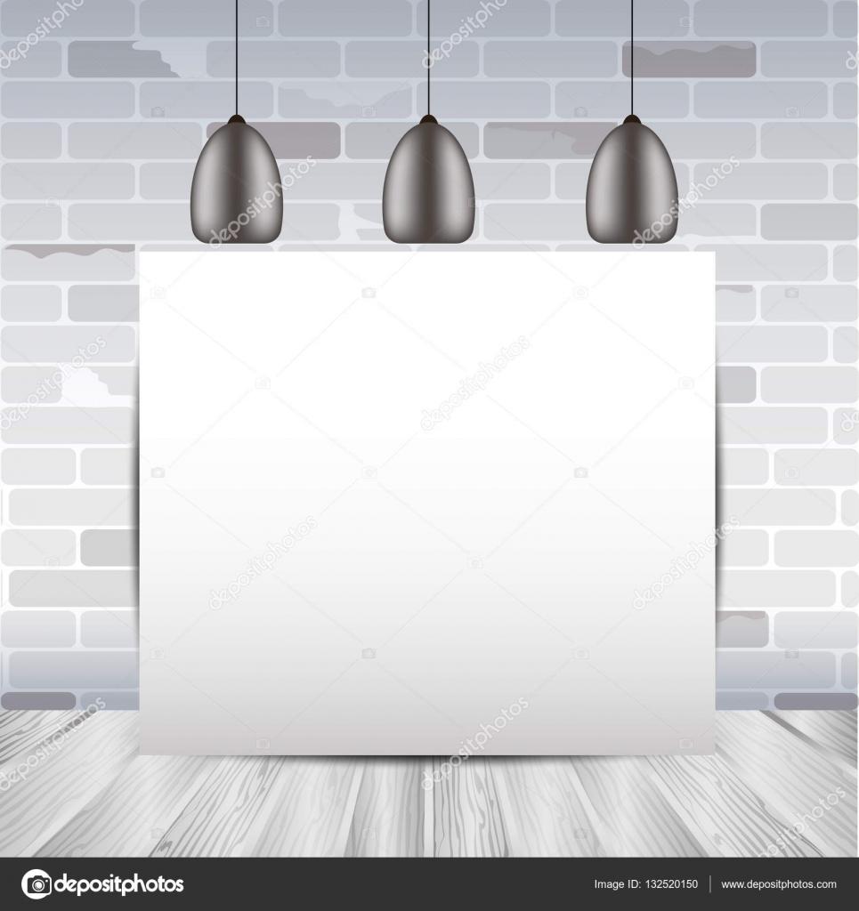 흰색 벽돌 벽과 나무 바닥 포스터 템플릿, 룸 인테리어 템플릿 ...