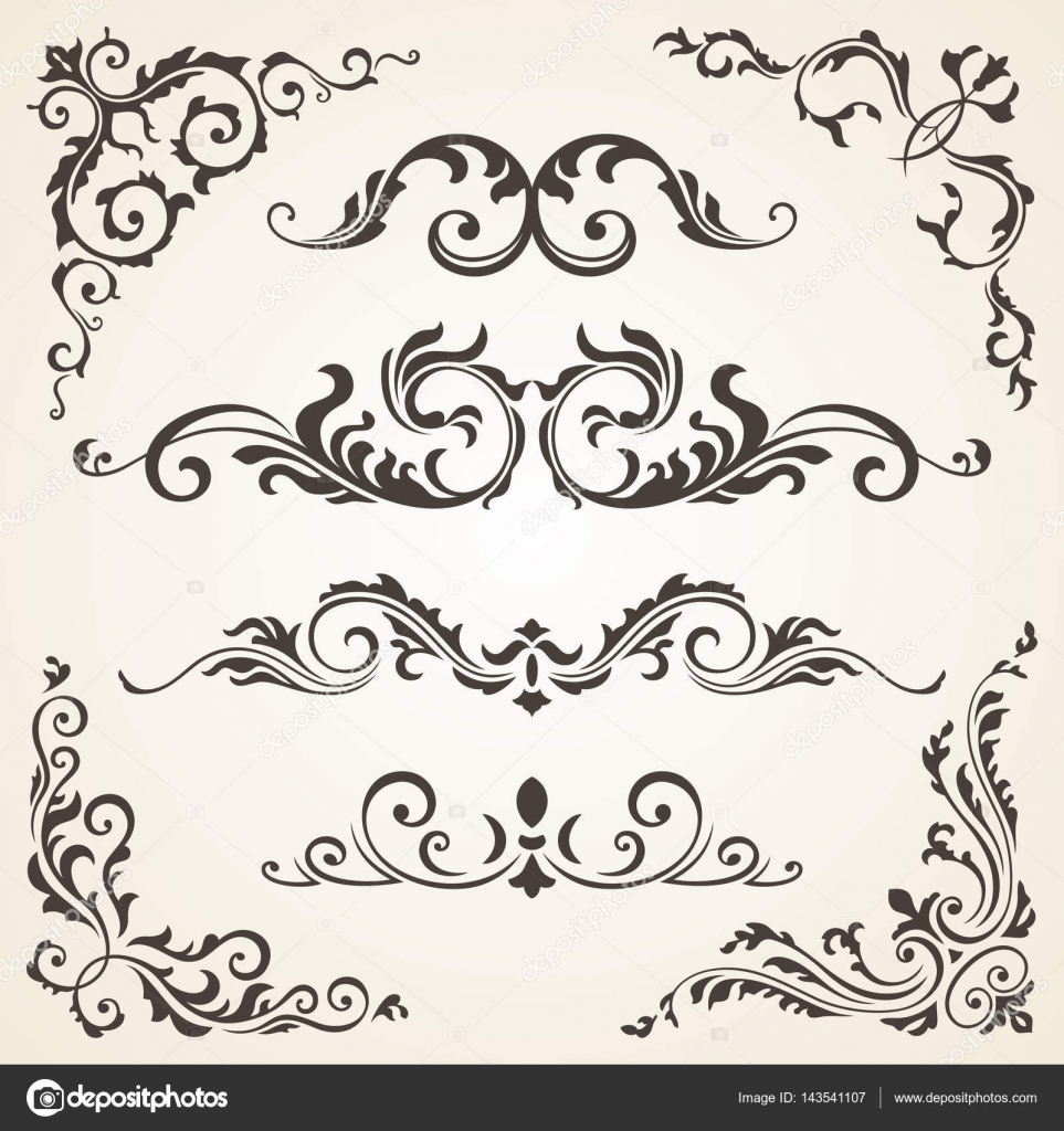 Conjunto de vector de elementos remolino y esquinas para - Pagina de decoracion ...