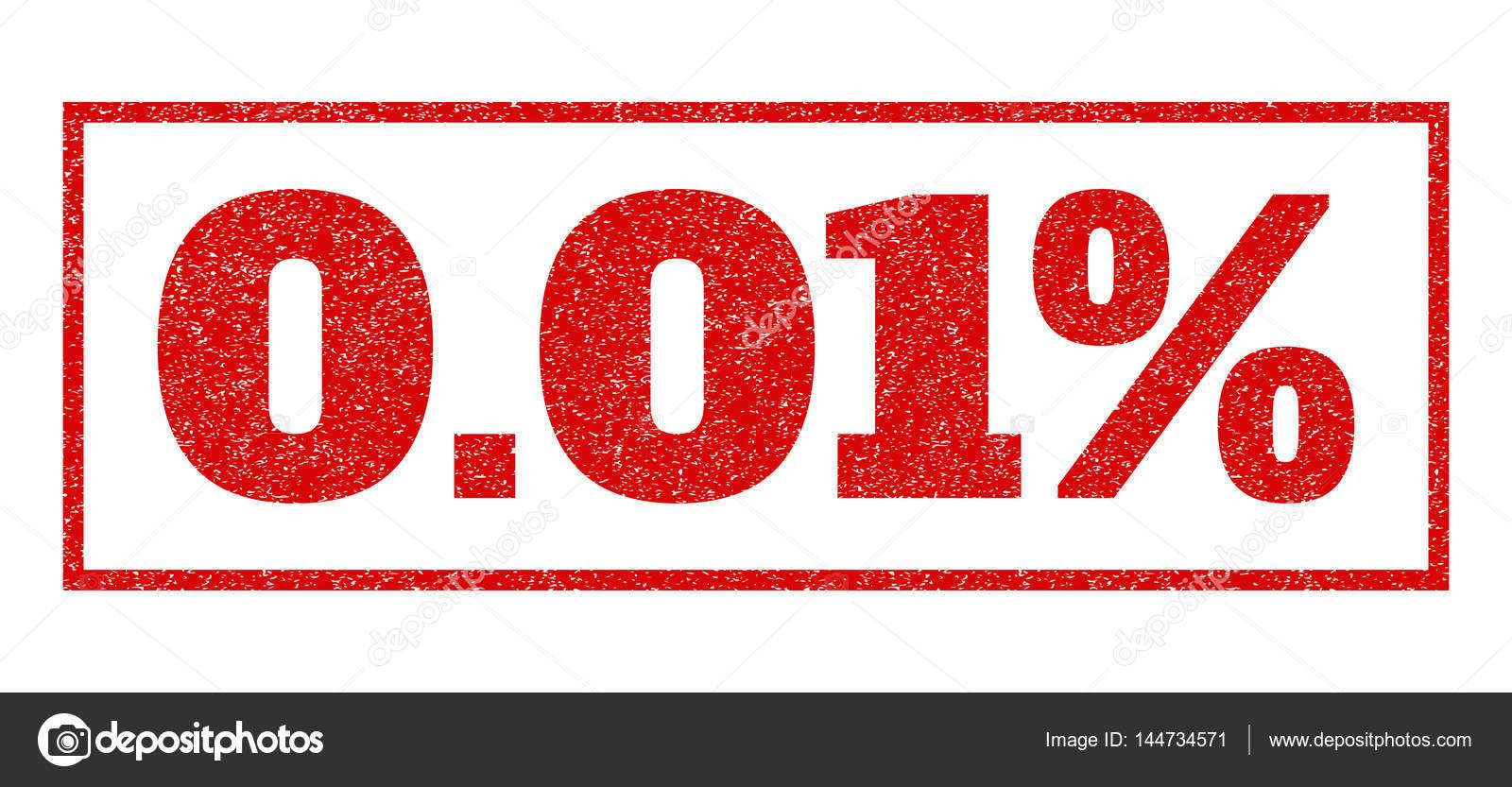 红色的橡皮印章加盖 0.01%文本.矢量标记内的矩形形状.